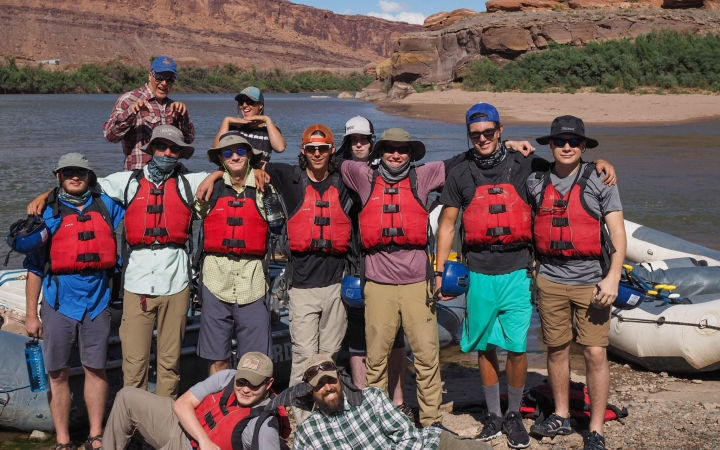 Young adults whitewater rafting on a wilderness program in the Grand Canyon with Outward Bound