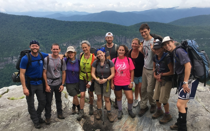 adult backpacking trip in blue ridge mountains