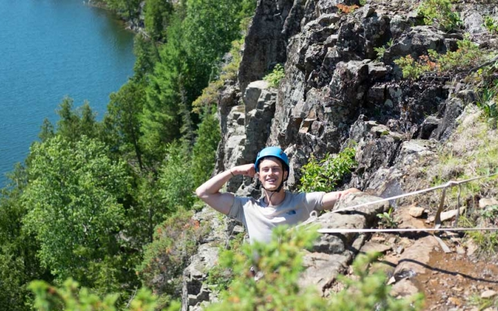 rock climbing camp for teens in boundary waters