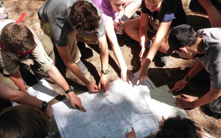 teens learn map skills on Blue Ridge mountain backpacking course