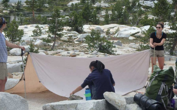 girls learn life skills on backpacking trip