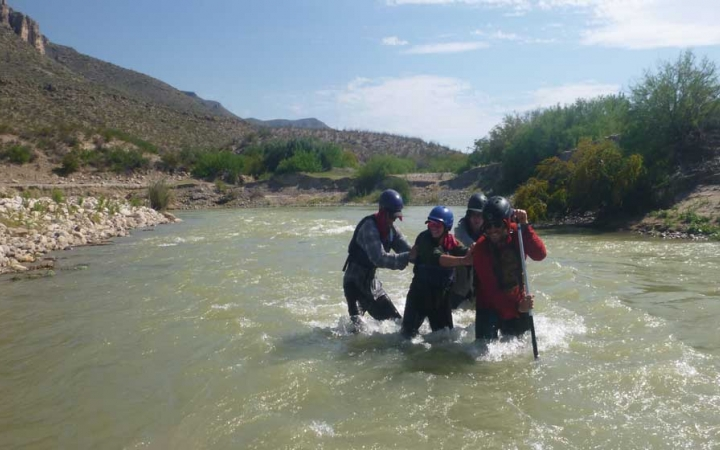 young adults canoeing trip in texas