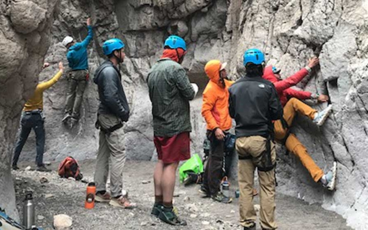 young adults learn canyoneering skills in texas