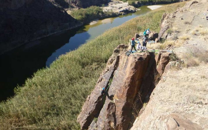 young adults rock climbing camp in texas