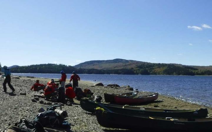 canoeing and camping trip for adults in maine