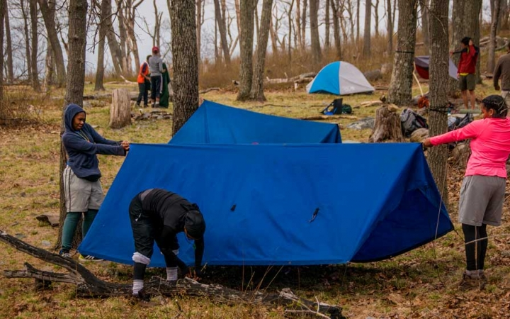 adults unplug on outdoor trip in philadelphia